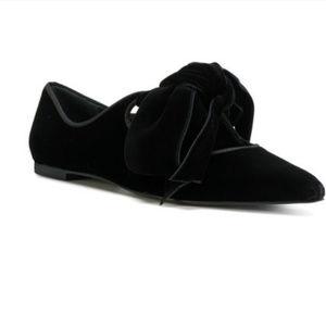 004335430a5c2 Tory Burch Shoes - Tory Burch Black Velvet Bow Clara Flats Size 6.5